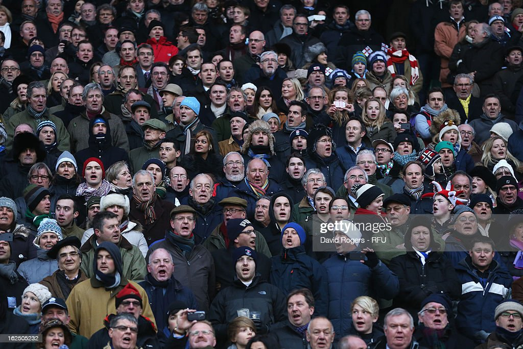 England fans sing the national anthem during the RBS Six Nations match between England and France at Twickenham Stadium on February 23, 2013 in London, England.