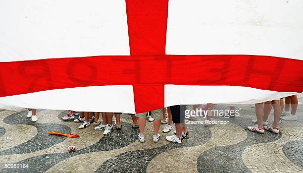 England fans wait in Rossi Square for the start of England's crunch game against Croatia at the Euro 2004 Championships on June 21 2004 in Lisbon...