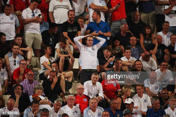 England fans watch the action during the FIFA 2018 World Cup Qualifier between Malta and England at Ta'Qali National Stadium on September 1 2017 in...