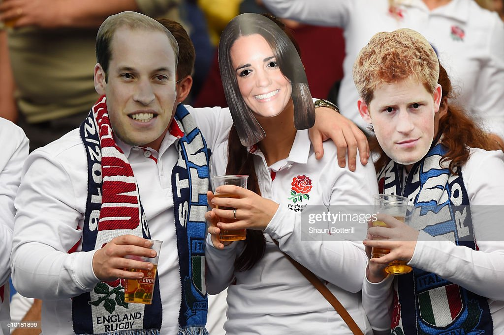 England fans wear masks depicting the British Royal family during the RBS Six Nations match between Italy and England at the Stadio Olimpico on February 14, 2016 in Rome, Italy.