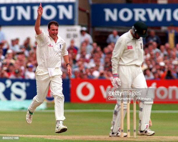 England fast bowler Angus Fraser celebrates his 2nd wicket of the day after having South African batsman Gerry Liebenberg caught by Graham Hick at...