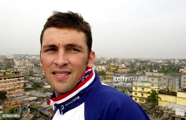 England fast bowler Steve Harmison on a balcony over looking the city of Chittagong Bangladesh ahead of the second test match against Bangladesh...