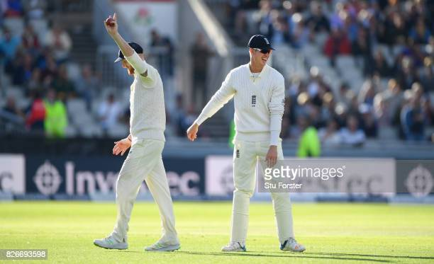 England fielder Ben Stokes is congratulated by Keaton Jennings after catching Rabada during day two of the 4th Investec Test match between England...