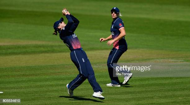 England fielder Fran Wilson takes a catch to dismiss Sri Lanka batsman Nipuni Hansika during the ICC Women's World Cup 2017 match between England and...