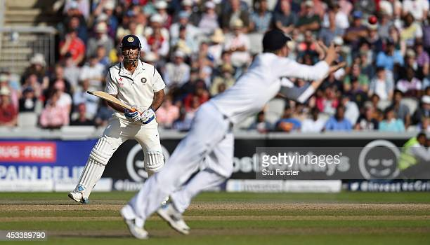 England fielder Gary Ballance prepares to catch India batsman MS Dhoni during day three of the 4th Investec Test match between England and India at...