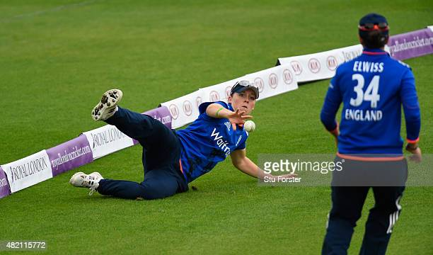 England fielder Heather Knight dives to save a boundary during the 3rd Royal London ODI of the Women's Ashes Series between England and Australia...