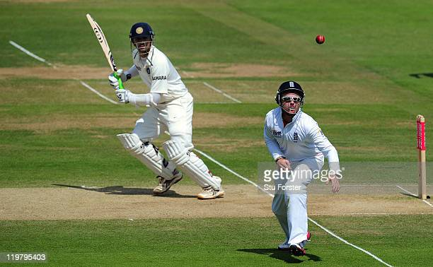 England fielder Ian Bell just fails to hold a chance off India batsman Rahul Dravid during day five of the 1st npower test match between England and...