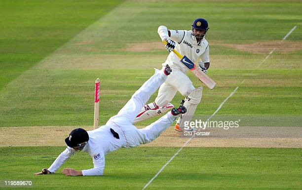 England fielder Ian Bell throws himself at a ball from of India batsman Abhinav Mukund during day two of the 1st npower test match between England...