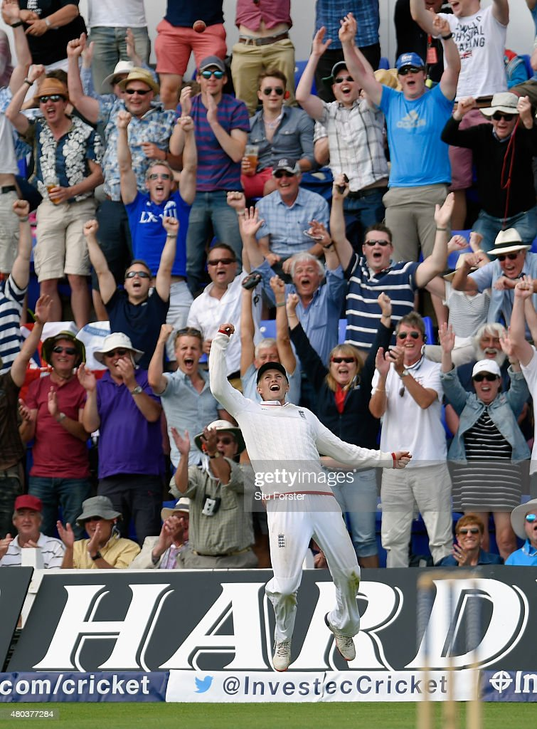 England fielder <a gi-track='captionPersonalityLinkClicked' href=/galleries/search?phrase=Joe+Root&family=editorial&specificpeople=6688996 ng-click='$event.stopPropagation()'>Joe Root</a> celebrates after catching Australia batsman Josh Hazlewood to win the match during day four of the 1st Investec Ashes Test match between England and Australia at SWALEC Stadium on July 11, 2015 in Cardiff, United Kingdom.