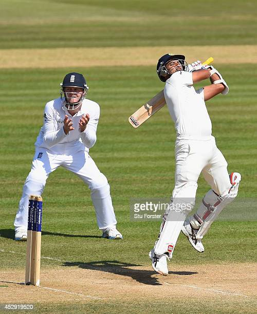 England fielder Sam Robson looks on as Mohammed Shami attempts to hit out during day four of the 3rd Investec Test match between England and India at...