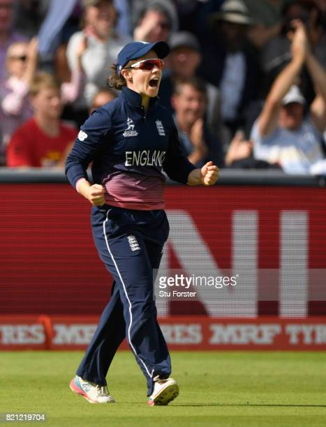 England fielder Tammy Beaumont celebrates after catching out Harmanpreet Kaur during the ICC Women's World Cup 2017 Final between England and India...