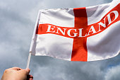 England  Flag blowing in wind.