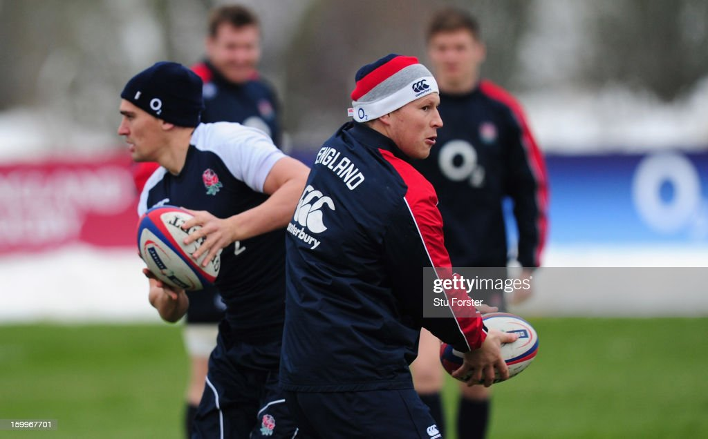 England fly half Toby Flood and Dylan Hartley in action during England training at West Park Rugby club on January 24 2013 in Leeds England