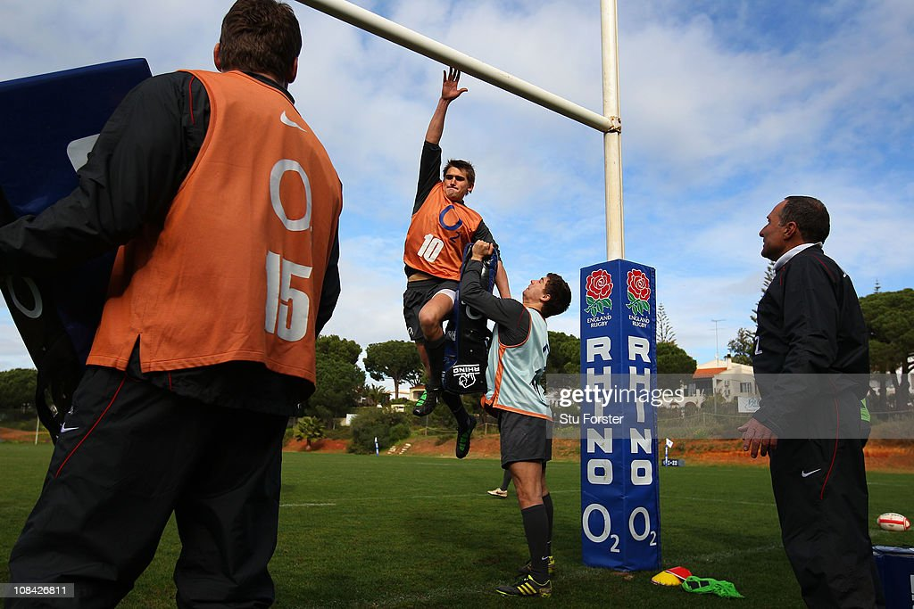 England flyhalf Toby Flood jumps up at the cross bar during England rugby union Training at their training camp at the Browns sport and leisure Club...