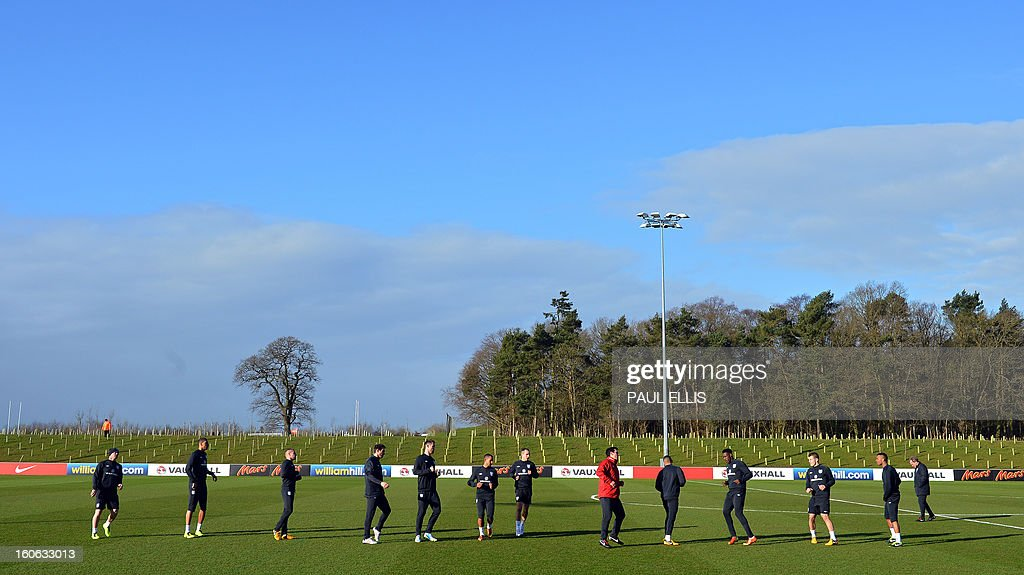 England football players train at St George's Park in central England, on February 4, 2013. England take on Brazil at London's Wembley stadium in an international friendly on February 6. AFP PHOTO/Paul Ellis/ USE