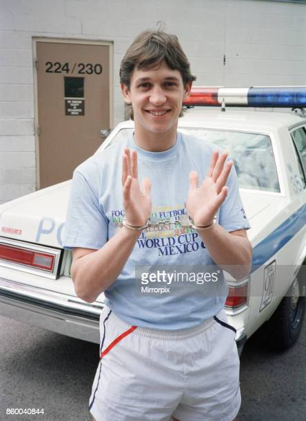 England football star Gary Lineker is handcuffed during a visit to a police station in Colorado Springs USA ahead of the 1986 World Cup tournament in...