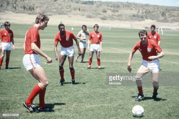 England football team attend a training session in Colorado Springs USA in preparation for the 1986 World Cup tournament in Mexico Terry Butcher goes...