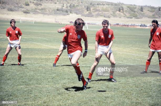 England football team attend a training session in Colorado Springs USA in preparation for the 1986 World Cup tournament in Mexico Pictured is...
