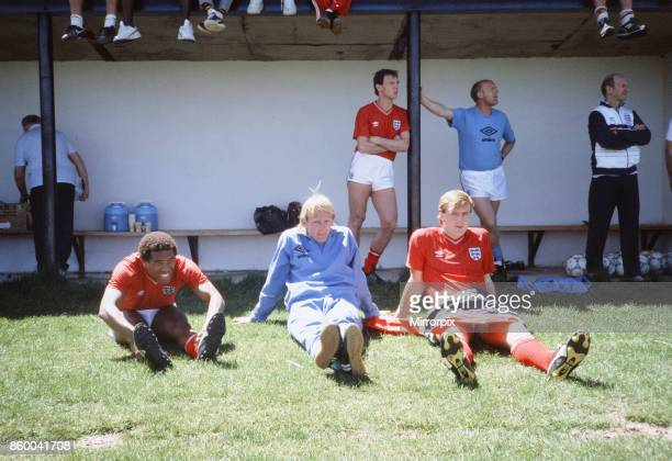England football team participate in a warm up match against a US Air Force team at Colorado Springs USA in preparation for the 1986 World Cup...