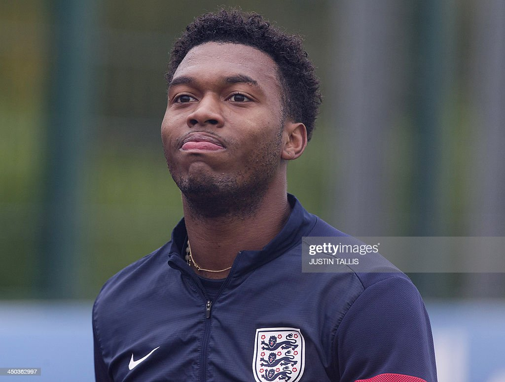 England football team player Daniel Sturridge arrives for an England training session at Arsenal's training ground, London Colney, north of London on November 18, 2013 ahead of their forthcoming international friendly football match against Germany.