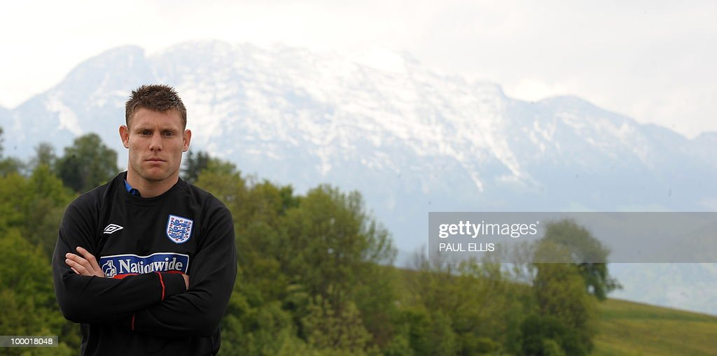 THURSDAY MAY 20. England footballer James Milner poses for photographers outside the team hotel in Irdning, Austria, during a media open day on May 19, 2010 ahead of the World Cup Finals in South Africa.