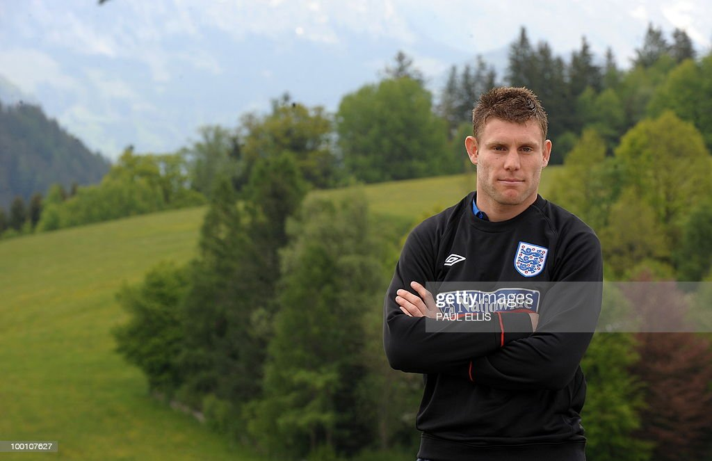 THURSDAY MAY 20. England footballer James Milner poses for photographers outside the team hotel in Irdning, Austria, during a media open day on May 19, 2010 ahead of the World Cup Finals in South A...