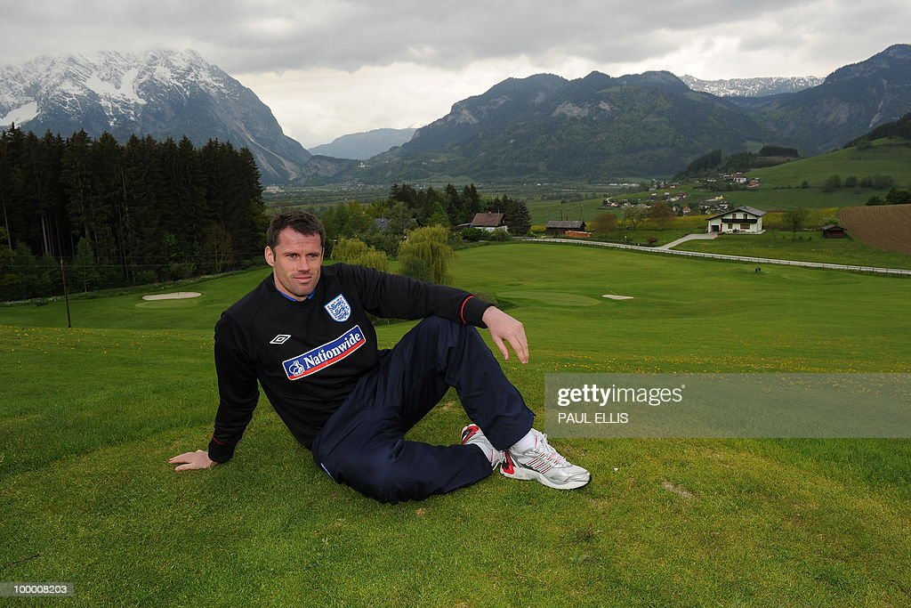 WEDNESDAY MAY 19,2010 England footballer Jamie Carragher,32, poses for photographers outside the team hotel in Irdning, Austria on May 19, 2010 ahead of the World Cup Finals in South Africa. Jamie Carragher insisted Wednesday that he still has to earn his ticket to the World Cup, despite being personally persuaded by Fabio Capello to add his grizzled experience to England's injury-depleted defensive resources. Carragher stopped playing for England in 2007 after growing unhappy at his lack of first-team chances under Sven Goran Eriksson and Steve McClaren at a time when he was at the peak of his career.