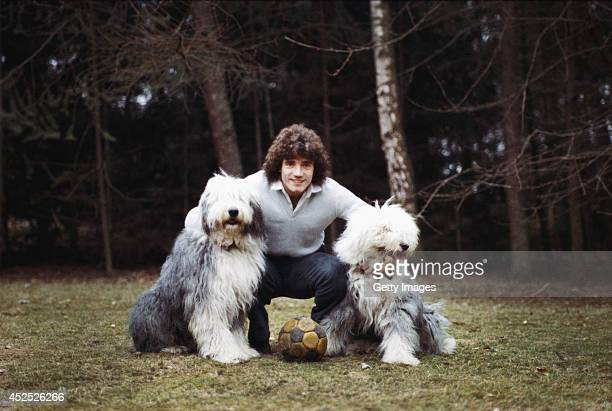 England footballer Kevin Keegan pictured with his dogs circa 1980