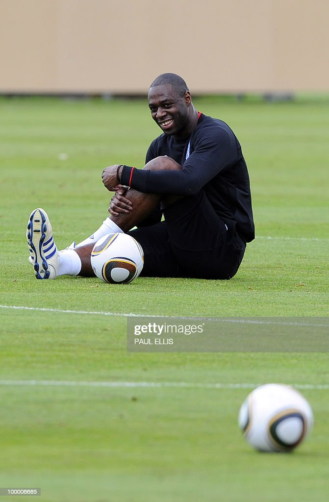England footballer Ledley King stretches during a training session in Irdning, Austria on May 19, 2010 ahead of the World Cup Finals in South Africa. The English football team arrived in Austria on May 17 for a training camp at altitude ahead of the World Cup.