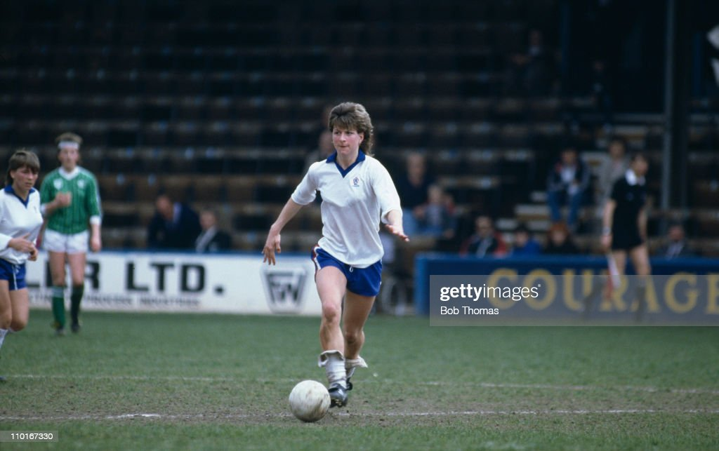 England footballer Marieanne Spacey during a Women's Soccer International between England and the Republic of Ireland at Reading 27th April 1986...