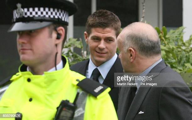 England footballer Steven Gerrard arrives at Liverpool Crown Court to formally enter a plea over his alleged involvement in a nightclub brawl