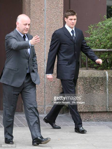 England footballer Steven Gerrard leaves Liverpool Crown Court where he pleaded not guilty to affray