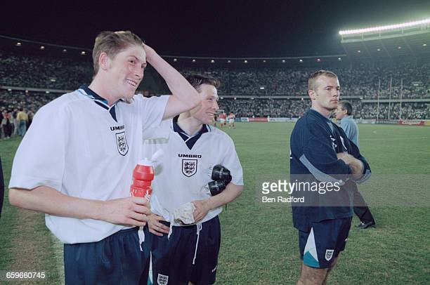 England footballers Darren Anderton Nick Barmby and Alan Shearer after an International Friendly Match against China at the Workers' Stadium in...
