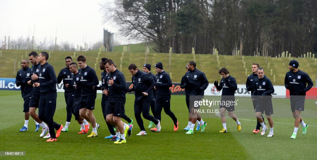 England footballers take part in a training session at the St George's Park training complex, near Burton-upon-Trent, central England on March 19, 2013 ahead of their 2014 World Cup qualifier football match against San Marino on March 22.