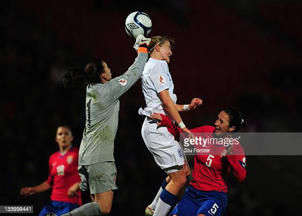 England forward Ellen White challenges the Serbia defence during the UEFA Women's Euro 2013 qualifier between England and Serbia at the Keepmoat on...