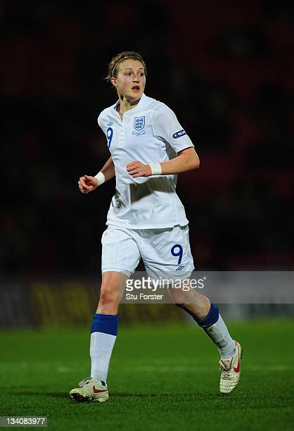 England forward Ellen White in action during the UEFA Women's Euro 2013 qualifier between England and Serbia at the Keepmoat on November 23 2011 in...