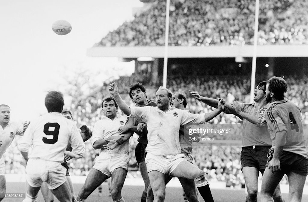 England forward Jim Syddall (centre) and John Hall in action against David Codey of Australia in a line-out during the International Rugby match at Twickenham in London, 3rd November 1984. Australia went on to defeat England 19-3.