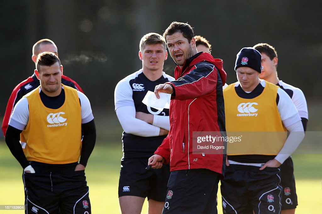 England Forwards coach <a gi-track='captionPersonalityLinkClicked' href=/galleries/search?phrase=Andy+Farrell+-+Rugbytrainer&family=editorial&specificpeople=234823 ng-click='$event.stopPropagation()'>Andy Farrell</a> speaks with his players during the England training session at Pennyhill Park on November 29, 2012 in Bagshot, England.