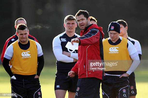 England Forwards coach Andy Farrell speaks with his players during the England training session at Pennyhill Park on November 29 2012 in Bagshot...
