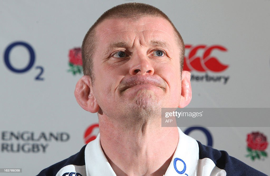 England forwards rugby coach Graham Rowntree speaks to the media during a press conference in Cardiff on March 15, 2013 on the eve of their final Six Nations international rugby union match against Wales. AFP PHOTO / GEOFF CADDICK