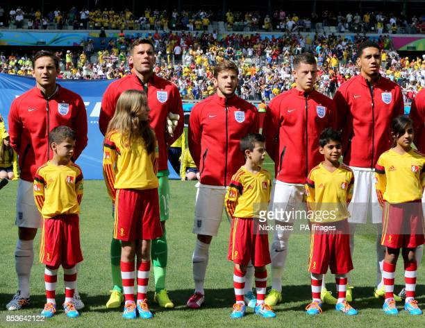 England Frank Lampard Ben Foster Adam Lallana Ross Barkley and Chris Smalling line up before kickoff during the FIFA World Cup Group D match at the...