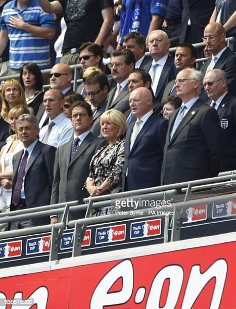England General manager Franco Baldini Manager Fabio Capello Chelsea CEO Peter Kenyon and Chairman Bruce Buck in the stands
