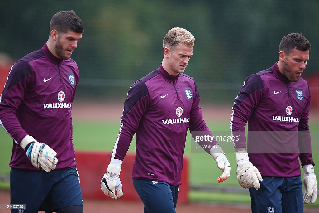 England goal keepers Fraser Forster, Joe Hart and Ben Foster during a England training session before the international friendly match against Norway at London Colney on September 1, 2014 in London, England.