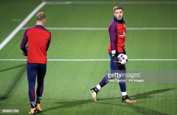 England goalkeeper Jack Butland with teammate Joe Hart during the training session at the LFF Stadium Vilnius
