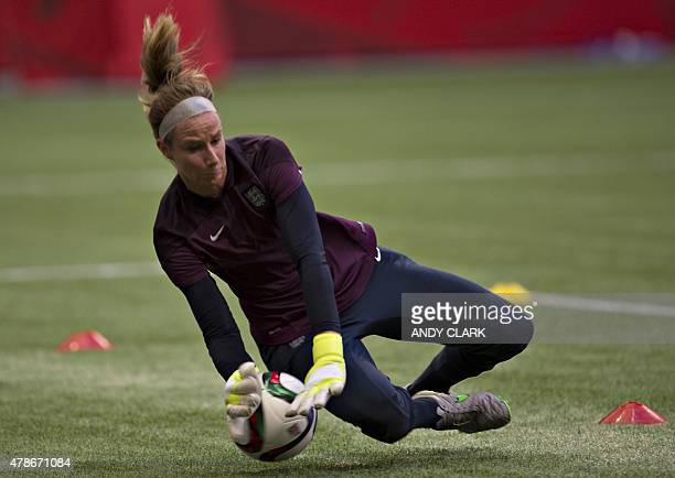 England goalkeeper Karen Bardsley stops the ball during a training session at the 2015 FIFA Women's World Cup in Vancouver on June 26 2015 AFP...