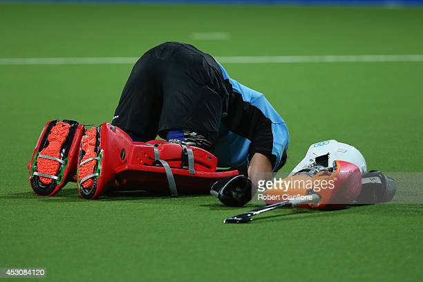 England goalkeeper Maddie Hinch is dejected after England were defeated by Australia after the Women's Gold Medal Match against England at Glasgow...