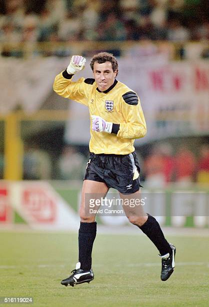 England goalkeeper Peter Shilton celebrtaes during the FIFA 1990 World Cup match between England and Cameroon at Stadio San Paolo on July 1 1990 in...