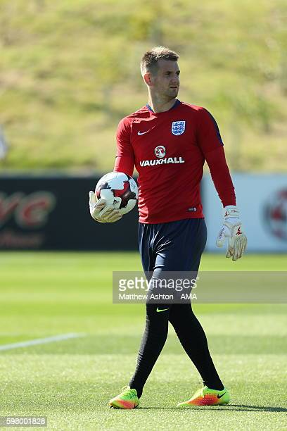 England goalkeeper Tom Heaton during the training session during the England training session at St Georges Park on August 30 2016 in BurtonuponTrent...