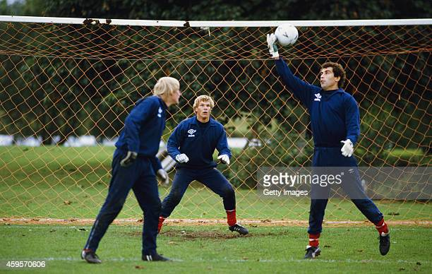 England goalkeepers from left Gary Bailey Chris Woods and Peter Shilton pictured in training circa 1984