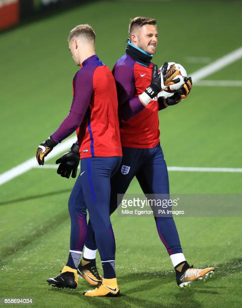 England goalkeepers Joe Hart and Jack Butland during the training session at the LFF Stadium Vilnius